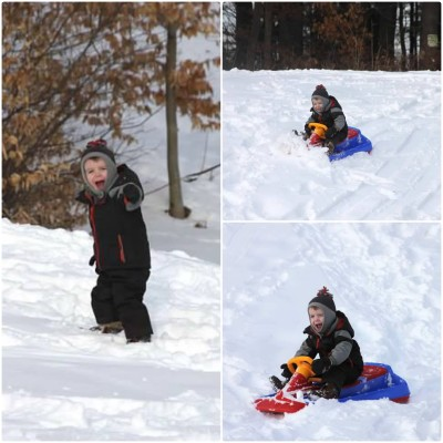 sledding collage