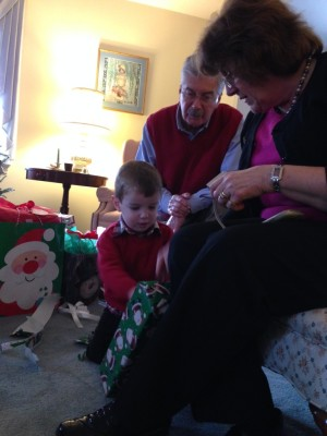 Opening presents with Nana and Bump!